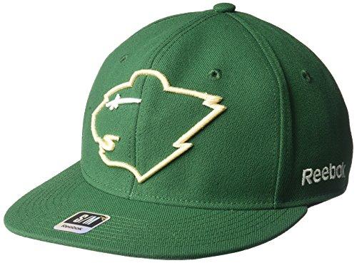fan products of NHL Minnesota Wild Men's SP17 Oversized Logo Flat Visor Flex Cap, Green, Large/X-Large