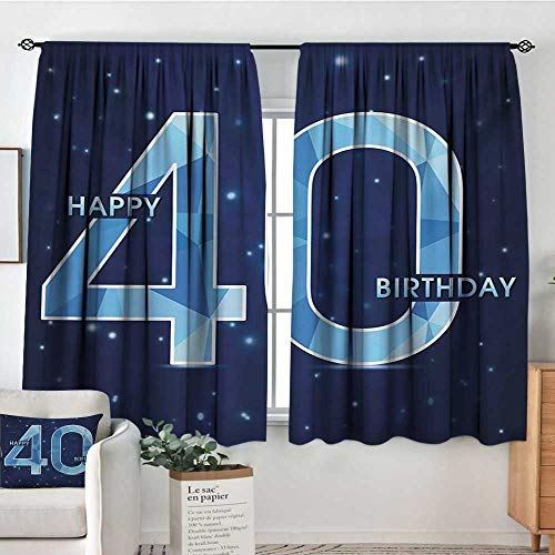 (HOMEDECORATIONS 40th Birthday Waterproof Window Curtain Abstract Modern Design with Geometrical Number Forty Emblem Bedroom Blackout Curtains 72