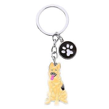 Scrox 1x Llavero Moda Forma Creativa del Linda Perro Mascota Cadena de Clave Bolsos Colgante Key Holder Mujer Regalo para Decoración (Perro Lobo)