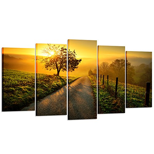 Kreative Arts – Large 5 Piece Canvas Wall Art Idyllic Rural Landscape in Golden Light Dawn Farm Tree Picture Prints Modern Home Decor Stretched and Framed Ready to Hang Large Size 60x32inch