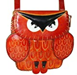 Genuine Leather Messenger Shoulder Bag, an Owl Design, Beautiful and Unique ! (Orange-Red)