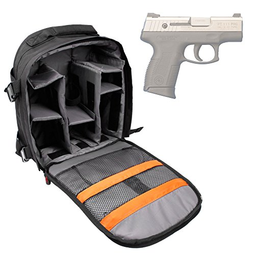 (DURAGADGET Taurus PT111 Millennium G2 Handgun Carry/Storage Bag - Premium Quality, Water-Resistant Backpack with Customizable Interior & Raincover for Taurus PT111 Millennium G2 Pistol)