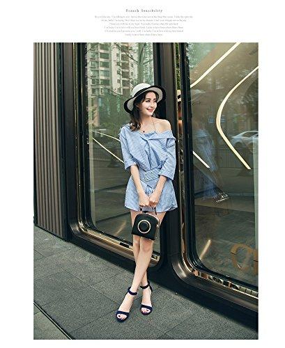 der mit Version Sommer Koreanische Blau LIANGXIE Wilden mit Schwarzen Sandalen Feinen Damenschuhe Paket mit Schnalle Hochhackigen Xiaoqi EXpBwwRq