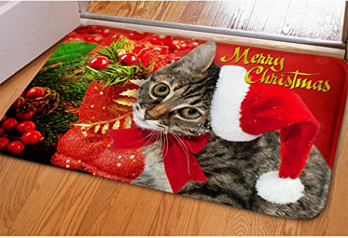 Home Bedroom Red Christmas Welcome Doormat Cute Kitty Cat Print Nonskid Floor Entryway Mat Porch Hallway Sliding Door Mat For Xmas Decorative Kitchen Bathroom Winter Nonslip Indoor Entry Rug (Mats Door Xmas)