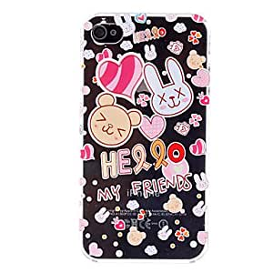 JJEAnimals Pattern Transparent Hard Case for iPhone 4 and 4S