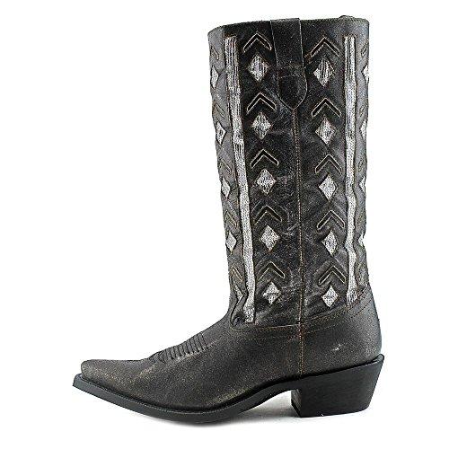Laredo Womens Noir Diamant Cuir Bottes De Cowboy 13po Argent Sequin Noir