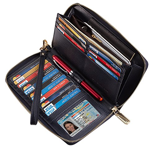 Chelmon Womens Wallet Geunine Leather RFID Blocking Purse Credit card Clutch (pebble navy blue)