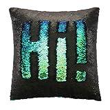 Ankit Mermaid Pillow Reversible Sequin Pillow that Changes Color - Mermaid Green Black