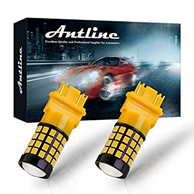 ANTLINE Newest 3157 LED Bulb Amber Yellow (2 Pack), 9-30V Super Bright 1600 Lumens 3156 3057 3056 4057 52-SMD LED Lamps with Projector for Replacement, Work as Turn Signal Blinker Side Marker Lights: Automotive