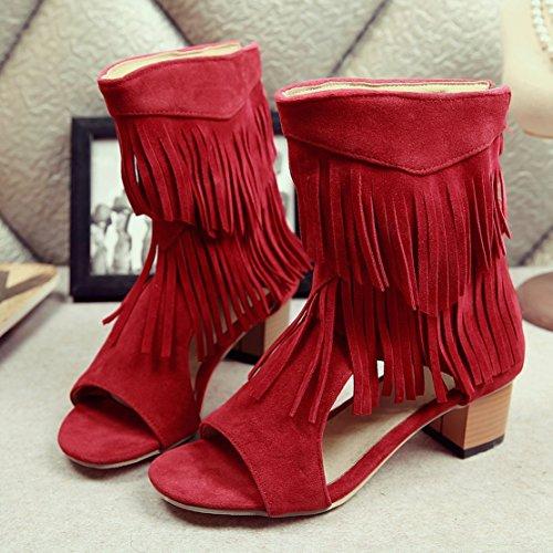 YE Women's Open Toe Summer Ankle Boots Block Heels Sandals with Tassels Red wMjnz5Kf