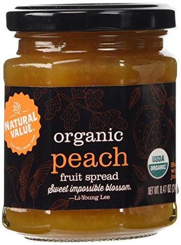 Natural Value 100% Organic Spread Sweetened with Fruit Juice, Peach Fruit, 8.47 Ounce