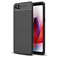 KOKO Leather Textured Shock Proof Slim TPU Back Case Cover for Oppo Realme 1 (Black)