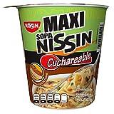 Nissin Maxi Pasta de Trigo para Sopa Instantánea, Sabor Jugo de Carne, 12 Piezas