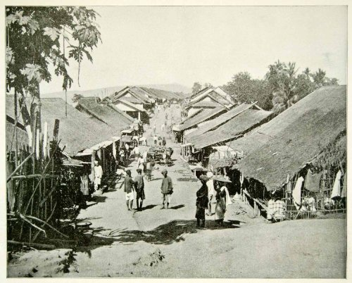 1893 Print Rural Village Calcutta India Street Pedestrian Asia Thatch Roof Hut - Original Halftone - India Hut