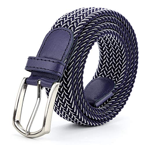 (Braided Canvas Woven Elastic Stretch Belts for Men/Women/Junior with Multicolored (Blue-White, Medium/32