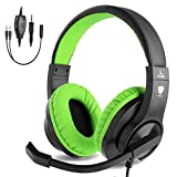 BlueFire Gaming Headset Kids with Microphone, 3.5mm Wired Comfortable Bass Stereo Volume Control Headphone for PS4 / Xbox One / Xbox One S /Xbox One X / Nintendo Switch / PS4 Slim / S4 Pro / PC / Computer / Phones (Green)