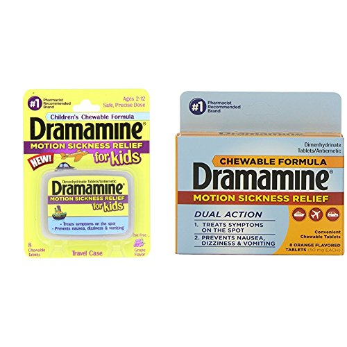 Dramamine Motion Sickness Relief for Kids, Grape Flavor, 8 Tablets & Dramamine Motion Sickness Relief Chewable Tablets, Orange Flavored, 8 Tablets