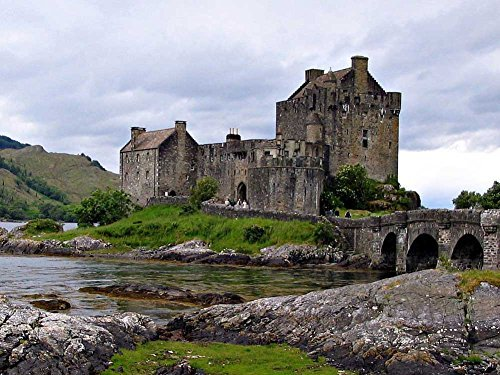Eilean Donan Castle Scotland -Oil Painting On Canvas Modern Wall Art Pictures For Home Decoration Wooden Framed (12X16 Inch, Framed)