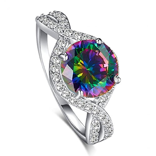 LeoBon Engagement Rings for Women Rainbow Topaz White CZ Diamond 18K White Gold Plated Wedding Ring - Poison Butterfly