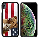 MSD Apple iPhone Xs MAX Case Aluminum Backplate Bumper Snap Case Image ID: 4904845 Proud American Pets with US Flag in as Background Focus on cat