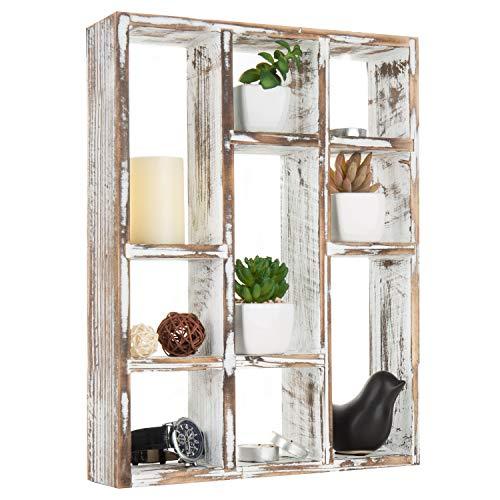 MyGift Vintage Whitewashed Wall-Mounted 9-Slot Wood Floating Shelf ()