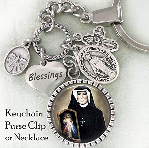 (Saint Maria Faustina Kowalska Key Chain, Purse Clip, Backpack Clip or Necklace, Patron Saint, Divine Mercy, Jesus I Trust In You, Catholic Confirmation Gift)