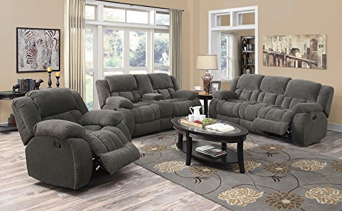 Sofa Asian Sectional (Coaster Weissman Casual Pillow Padded Reclining Love Seat with Cupholders and Storage, Grey)