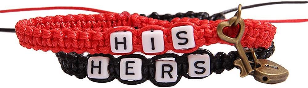 LPxdywlk 2 Unids//Set His Hers Carta Cerradura Pulsera Clave Encanto Hecho A Mano Tejido Pareja Brazalete Pulsera Accesorio De Joyer/ía