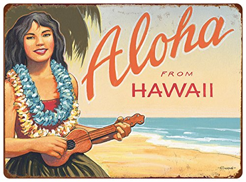 Pacifica Island Art 12in x 16in Vintage Hawaiian Tin Sign - Aloha from Hawaii by Kerne Erickson by Pacifica Island Art
