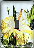 Metal Light Switch Plate Yellow Hibiscus - ''Hibiscus''. Artwork by Candace Lee. Comes in single toggle, 2 toggle. Matching Screws.