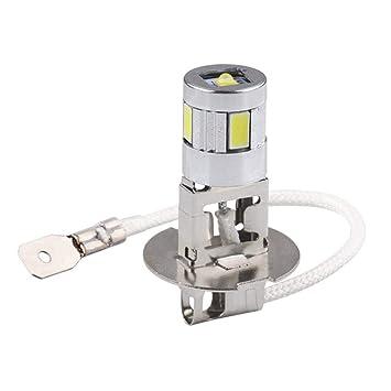 Calistouk - Bombilla LED de alta potencia para coche H3, luz antiniebla de uso diario, 4SMD 5630 5730: Amazon.es: Coche y moto