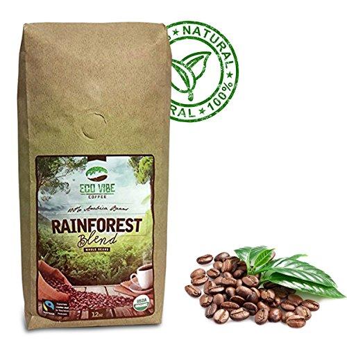 Eco Vibe Fair Trade Organic Coffee Beans 12oz, Light Medium Roasted Gourmet Coffee, Rainforest Blend.