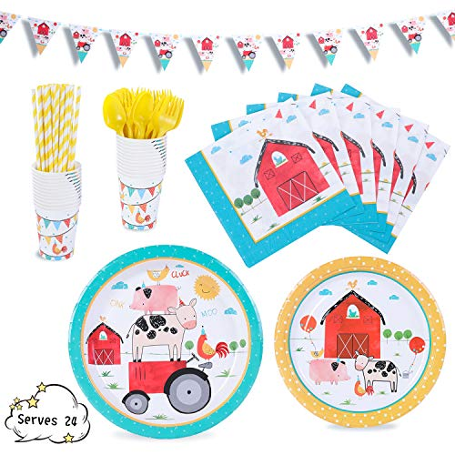 Farmhouse Party Supplies Decorations Barn Barnyard Fram Animals Dinnerware 169 Pcs Serves 24 Includes 7