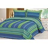 Blue Stripe Quilt Set Twin Size