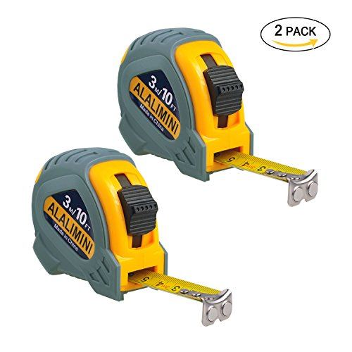 Metal Retractable Tape Measure (Alalimini Tape Measure 2Pack 3M/10FT Measure Tape Room Measurement Tool Ruler Measurements Auto Locking Magnetic Hook Retractable Measuring Tape Inches Metric)