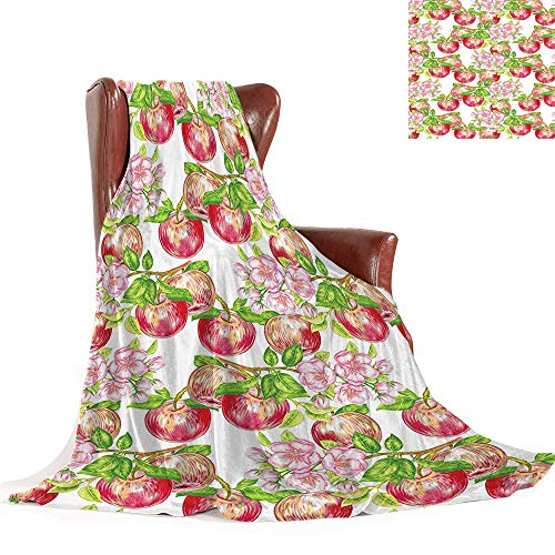 Cheap SATVSHOP Weighted blanket-60 x50-Warm Microfiber All Season Comfortable Flannel blanke.Victorian Apple Tree in Summer Time with Flowers Nature Scenery Cultural Artwork White Green. Black Friday & Cyber Monday 2019