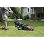 Worx wg744 cordless lawn mower 13 the 17 inches mower includes 2 removable 20v 4; 0ah batteries that delivers 40v power and performance patented intellicut provides additional torque on demand and the ability to conserve battery when desired premium 2 in 1 design that mulches, bags and rear discharges and includes a quick single lever cutting height adjustment.