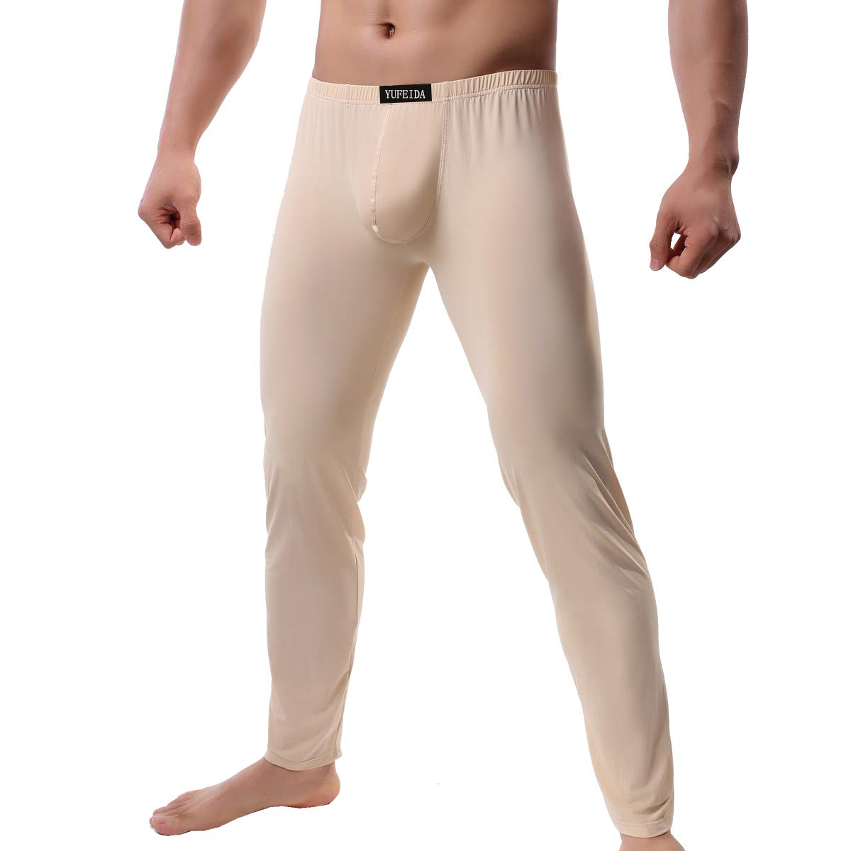 Men's Compression Half Tights Leggings Sheer Swimwear Shorts Trunks Pant (L, Thicker Beige) by YUFEIDA