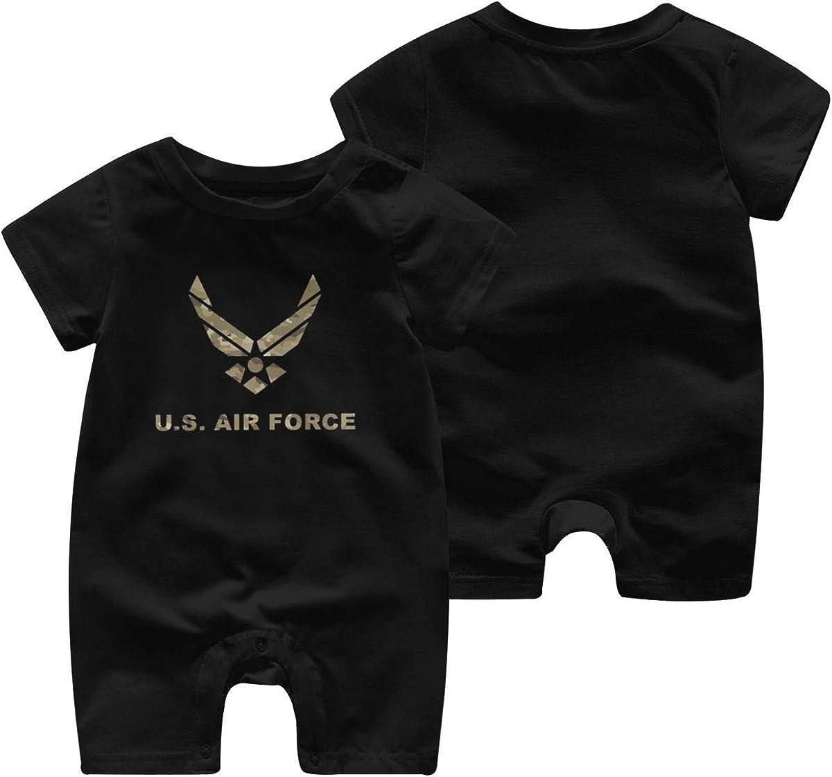 5husihai Us Air Force USAF 1-24 Months Boy Girl Baby Short Sleeve Creeper Jumpsuit Black