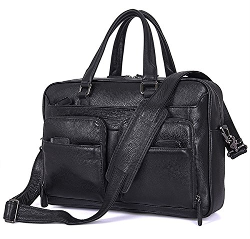 Berchirly Men Black Real Leather Messenger Bag Multicompartment Travel Shoulder Bag Briefcase by Berchirly