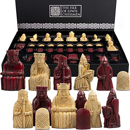 The Isle of Lewis Chessmen – Regency Chess Official Lewis – Edición roja – 4 Queens
