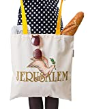Cotton-Canvas Hand Shoulder Tote Bag, Jewish, Holy Land (Jerusalem Dove) Made in Jerusalem