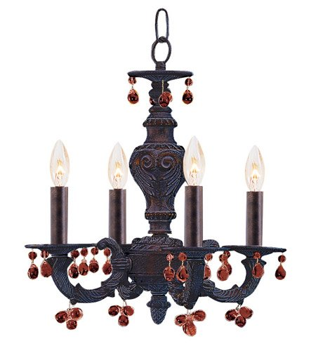 (Mini Chandeliers 4 Light With Venetian Bronze Murano Amber Crystal Wrought Iron 14 inch 240 Watts - World of Lighting)