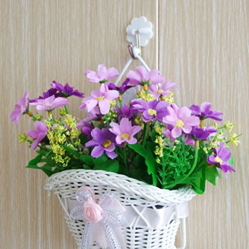 BUNITA, beautiful White Woven artificial flower hanging baskets on door wall graden for wedding festival party home decoration,hanging basket