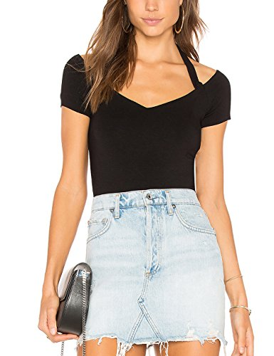 ALLY-MAGIC Womens Summer Halter Tops Short Sleeves V Neck Slim Fit T-Shirt Blouse C6822 (Black, (Jersey Knit Halter Top)