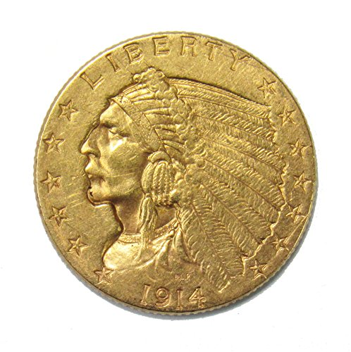 (1914 Gold Indian Quarter Eagle $2.50 XF/AU)