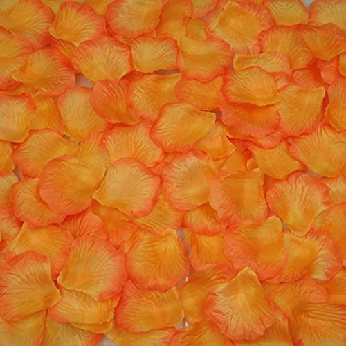 AutoM 1000 PCS Fabric Silk Flower Rose Petals Wedding Party Decoration Table Confetti (Orange) (Confetti Petal)