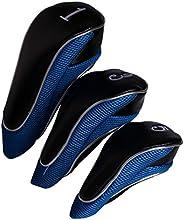 Andux Golf Driver Wood Head Covers with Zipper Closure Set of 3
