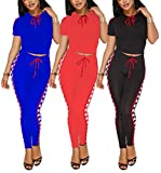 Women Stripes Bodycon 2 Piece Outfit Sport Tracksuit With Crop Top Long Skinny Pant Set