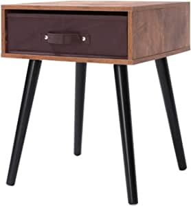 Iwell Mid Century Nightstand Wooden End Table With Drawer Side Table For Small Spaces Bedroom Solid Wood Legs Decent Furniture Brown Kitchen Dining